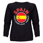 Spain Euro 2016 Fashion Women's Crewneck Sweatshirt (Black)