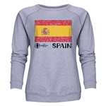 Spain Euro 2016 Fashion Women's Crewneck Sweatshirt (Grey)