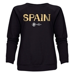 Spain Euro 2016 Core Women's Crewneck Sweatshirt (Black)