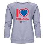 Romania Euro 2016 Heart Women's Crewneck Sweatshirt (Grey)