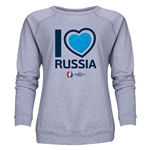 Russia Euro 2016 Heart Women's Crewneck Sweatshirt (Grey)