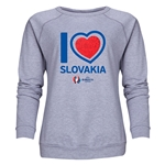 Slovakia Euro 2016 Heart Women's Crewneck Sweatshirt (Grey)