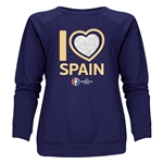 Spain Euro 2016 Heart Women's Crewneck Sweatshirt (Navy)