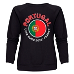 Portugal Euro 2016 Fashion Women's Crewneck Sweatshirt (Black)