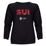Switzerland Euro 2016 Elements Women's Crewneck Sweatshirt (Black)