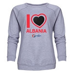 Albania Euro 2016 Heart Women's Crewneck Sweatshirt (Grey)