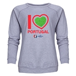 Portugal Euro 2016 Heart Women's Crewneck Sweatshirt (Grey)