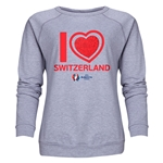 Switzerland Euro 2016 Heart Women's Crewneck Sweatshirt (Grey)