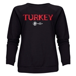 Turkey Euro 2016 Core Women's Crewneck Sweatshirt (Black)