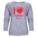 Turkey Euro 2016 Heart Women's Crewneck Sweatshirt (Grey)