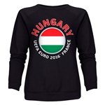 Hungary Euro 2016 Fashion Women's Crewneck Sweatshirt (Black)