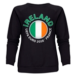 Ireland Euro 2016 Fashion Women's Crewneck Sweatshirt (Black)