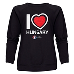Hungary Euro 2016 Heart Women's Crewneck Sweatshirt (Black)