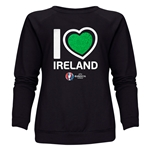Ireland Euro 2016 Heart Women's Crewneck Sweatshirt (Black)