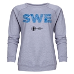 Sweden Euro 2016 Elements Women's Crewneck Sweatshirt (Grey)