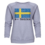 Sweden Euro 2016 Fashion Women's Crewneck Sweatshirt (Grey)
