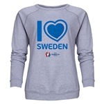 Sweden Euro 2016 Heart Women's Crewneck Sweatshirt (Grey)