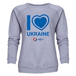 Ukraine Euro 2016 Heart Women's Crewneck Sweatshirt (Grey)