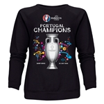 Portugal UEFA Euro 2016 Champions Women's Crewneck Fleece (Black)