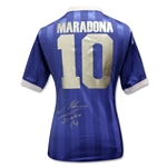 Icons Diego Maradona Back Signed Argentina 1986 Away Jersey