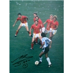 Icons Signed Print Maradona Takes on Belgium