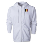 Belgium Flag Full Zip Hooded Fleece (White)