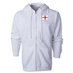 England Flag Full Zip Hooded Fleece (White)