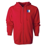 France Flag Full Zip Hooded Fleece (Red)