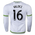 Seattle Sounders 2015 VALDEZ LS Authentic Away Soccer Jersey