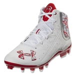 Under Armour Banshee Mid MC Lacrosse Cleats (White/Red)