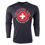Switzerland Euro 2016 Fashion Long Sleeve Training Top (Black)