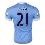 Manchester City 15/16 SILVA Authentic Home Soccer Jersey