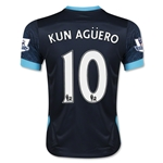 Manchester City 15/16 KUN AGUERO Youth Away Soccer Jersey