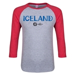 Iceland Euro 2016 Junior Core 3/4 Sleeve T-Shirt (Heather Red)