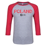 Poland Euro 2016 Junior Core 3/4 Sleeve T-Shirt (Heather Red)