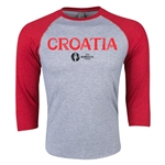 Croatia Euro 2016 3/4 Sleeve Core T-Shirt (Heather Red)