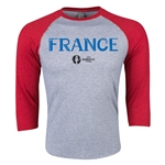 France Euro 2016 3/4 Sleeve Core T-Shirt (Heather Red)