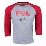 Poland Euro 2016 3/4 Sleeve Elements T-Shirt (Heather Red)