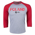 Poland Euro 2016 3/4 Sleeve Core T-Shirt (Heather Red)
