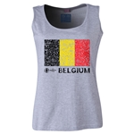 Belgium Euro 2016 Flag Women's Scoopneck Tank (Grey)