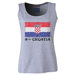 Croatia Euro 2016 Flag Women's Scoopneck Tank (Grey)