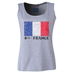 France Euro 2016 Flag Women's Scoopneck Tank (Grey)