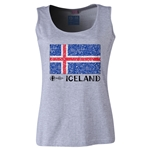 Iceland Euro 2016 Flag Women's Scoopneck Tank (Grey)