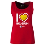 Belgium Euro 2016 Women's Heart Scoopneck Tank (Red)