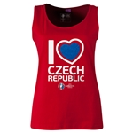 Czech Republic Euro 2016 Women's Heart Scoopneck Tank (Red)