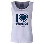 France Euro 2016 Women's Heart Scoopneck Tank (White)