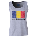 Romania Euro 2016 Women's Flag Scoopneck Tank (Grey)