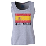 Spain Euro 2016 Women's Flag Scoopneck Tank (Grey)