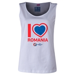 Romania Euro 2016 Women's Heart Scoopneck Tank (White)
