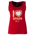 Spain Euro 2016 Women's Heart Scoopneck Tank (Red)